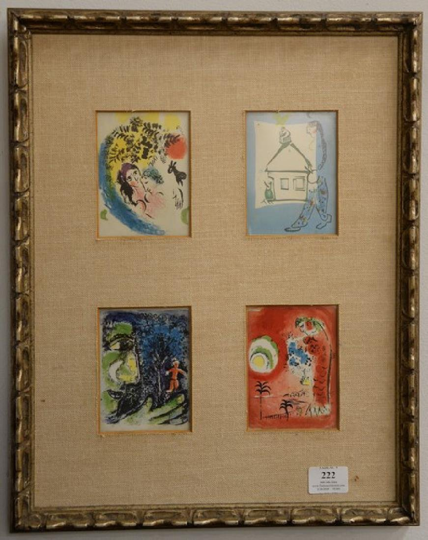 Set of four small Marc Chagall colored lithograph