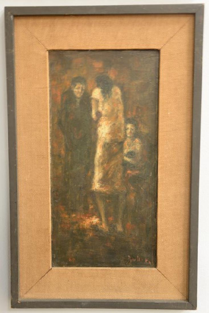Oil on canvas dark modern scene with three figures,