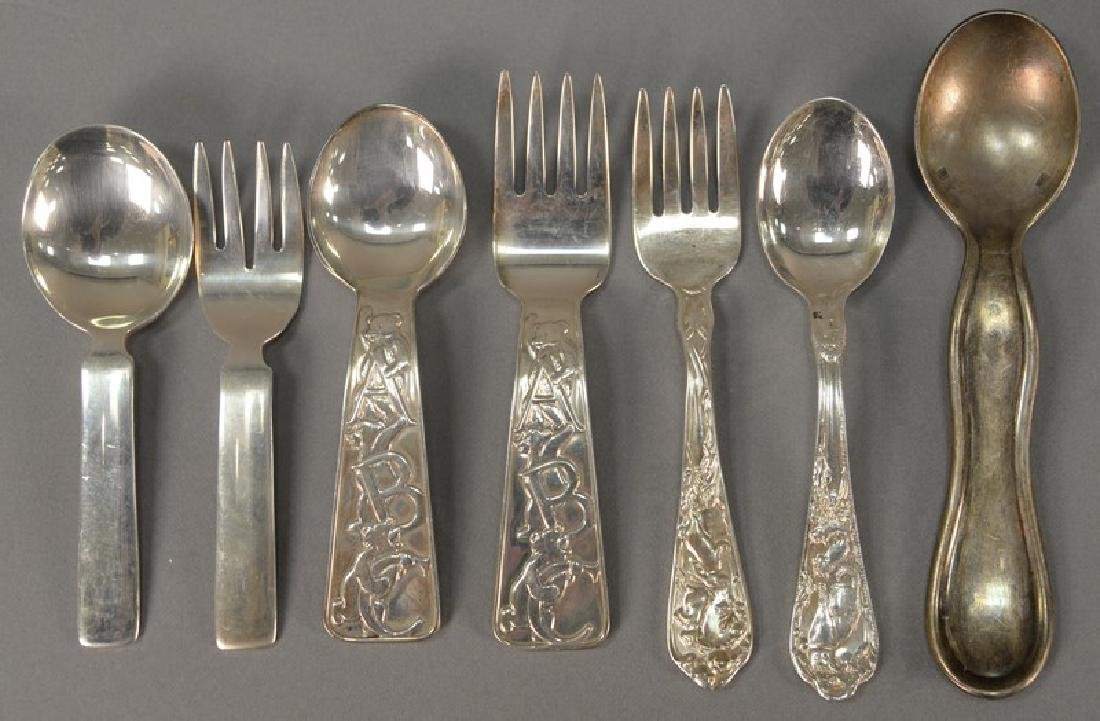 Seven piece lot of silver baby spoons and forks