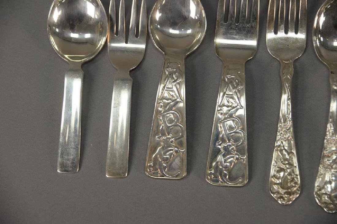 Seven piece lot of silver baby spoons and forks - 3