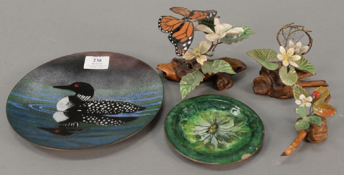 Five enameled pieces to include three Norman Brumm