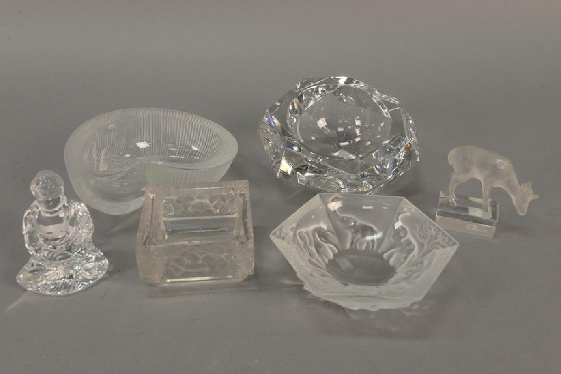 Six crystal pieces including two small Baccarat crystal