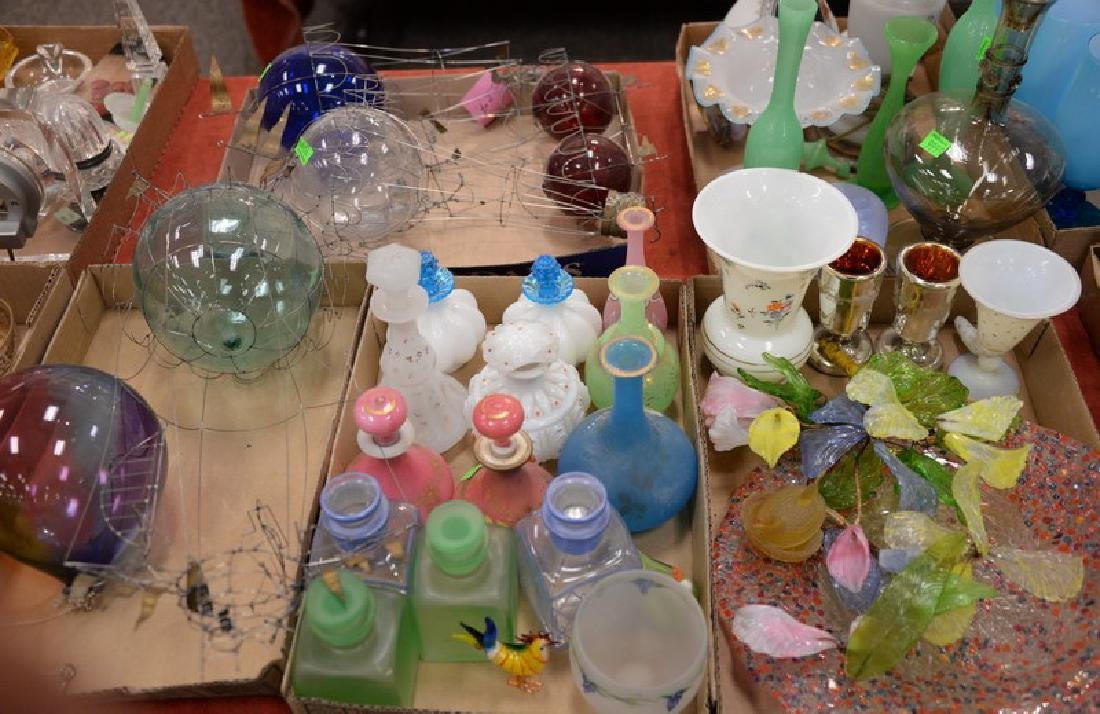 Five box lots of glass to include milk glass, four hot