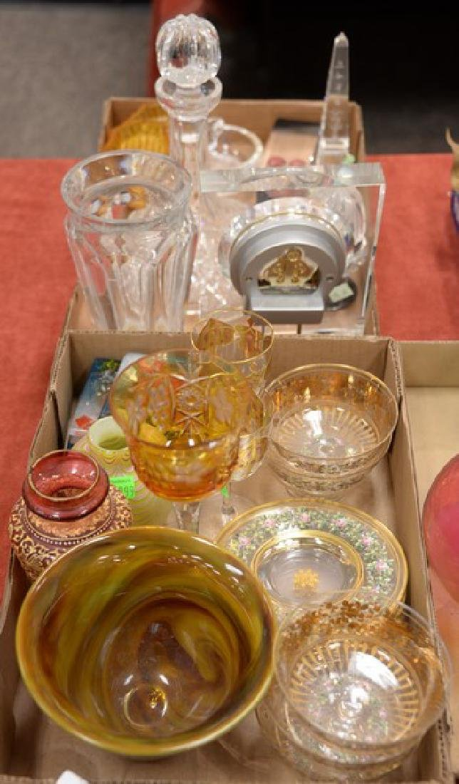 Two tray lots of art glass and crystal to include
