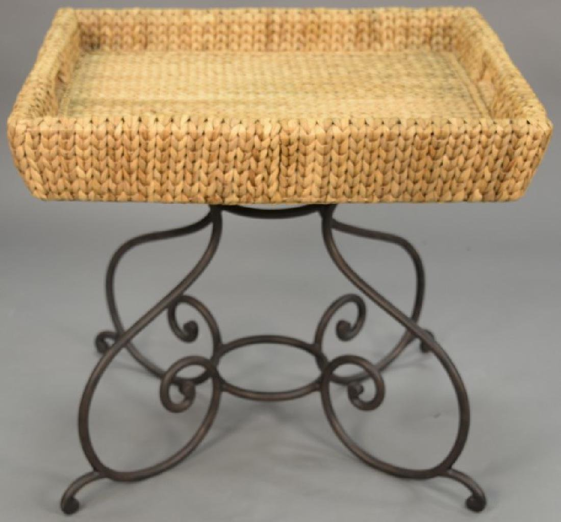 Four piece lot to include three rattan side chairs and