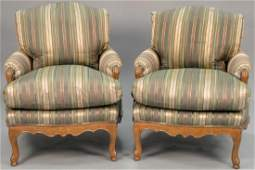 Pair of J. Robert Scott custom upholstered armchairs