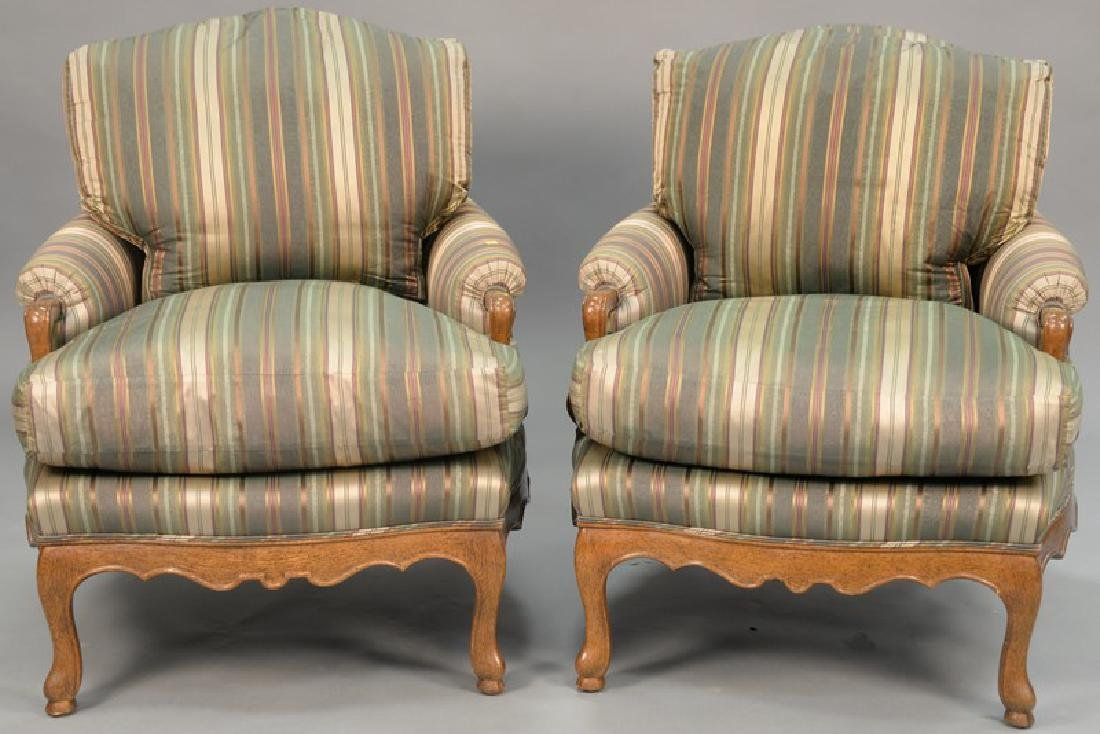 Pair of J. Robert Scott custom upholstered armchairs