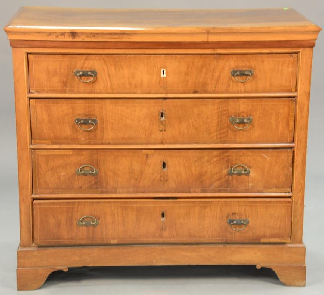 Continental four drawer chest, 19th century. ht. 42in.,