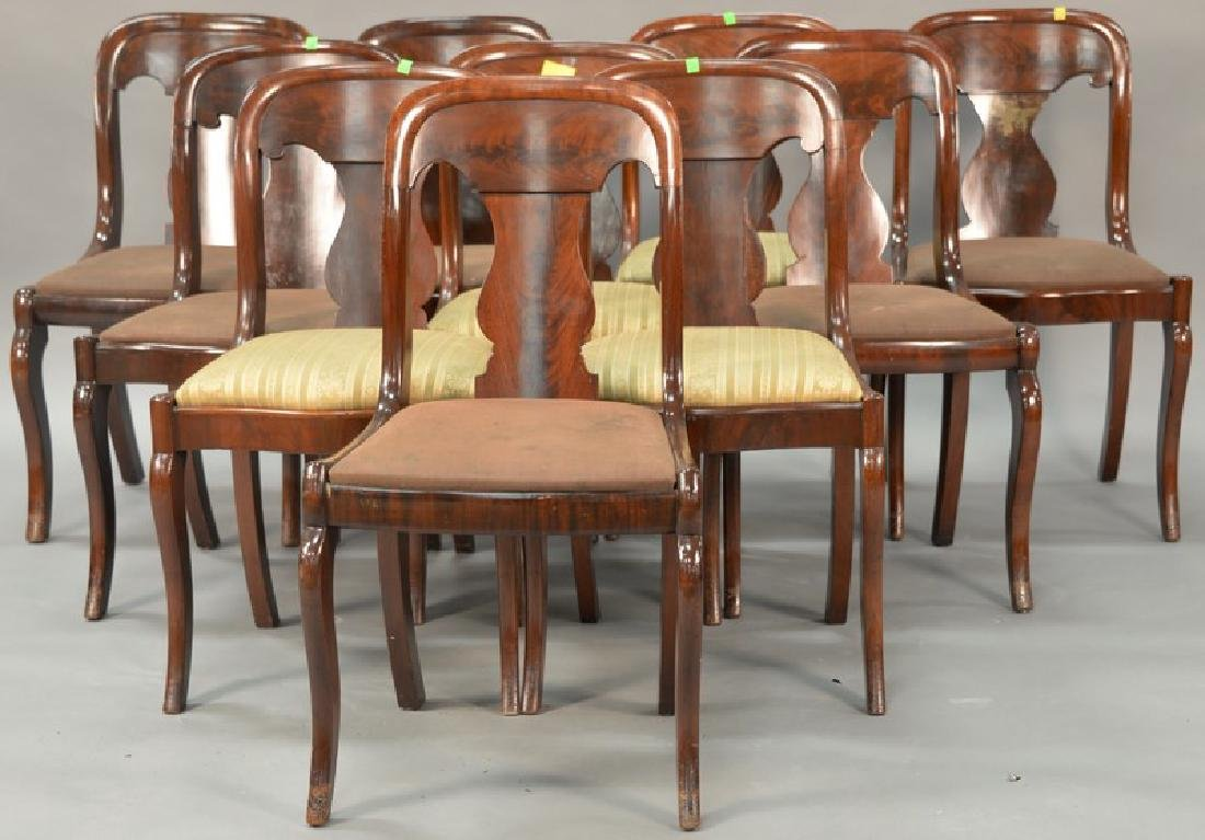 Assembled set of ten Empire saber leg side chairs, six