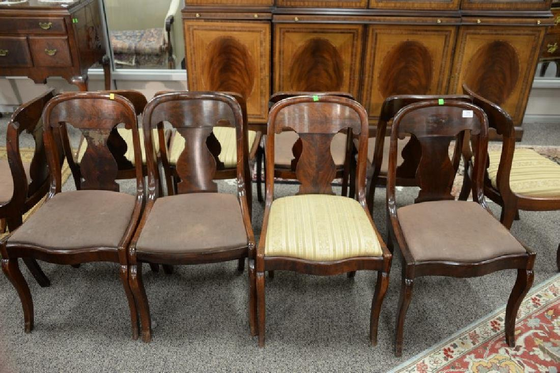 Assembled set of ten Empire saber leg side chairs, six - 2