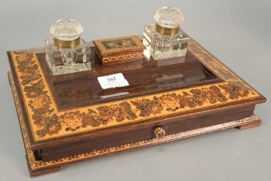 Tunbridge ware desk set with two crystal inkwells