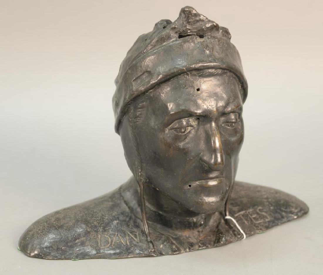 Bronze bust of Dantes. ht. 11 3/4in., lg. 16in.
