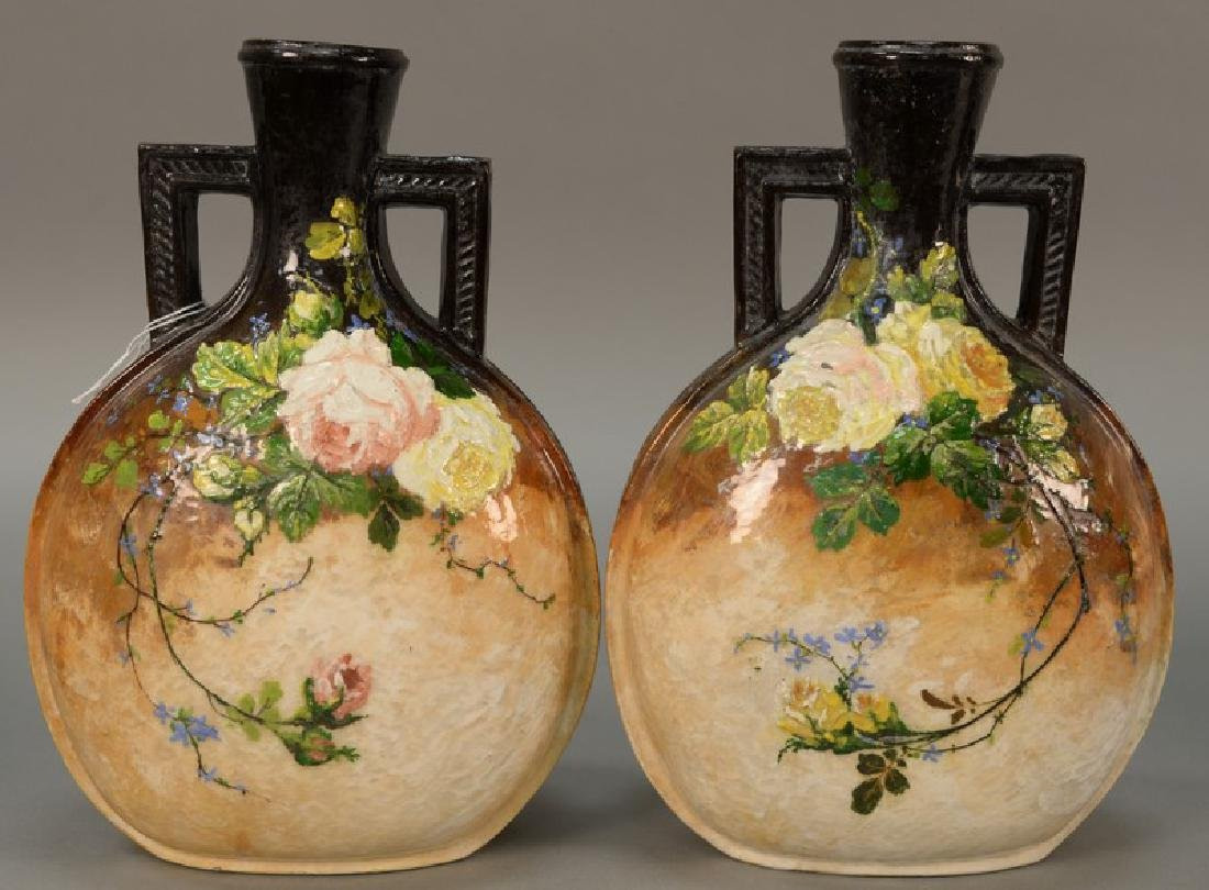 Pair of hand painted vases, art pottery with two