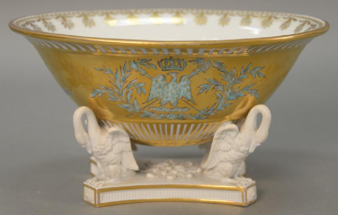 French porcelain center bowl, oval form gilt decorated