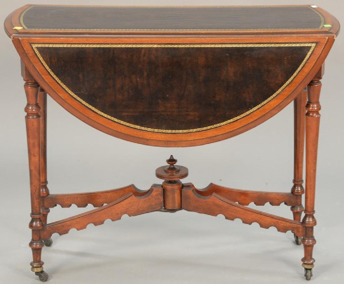 Gateleg drop leaf table with leather top (opens to