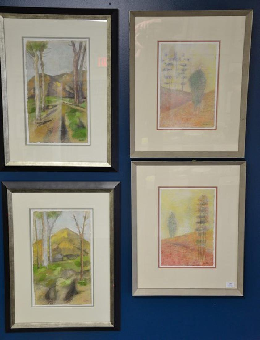 Group of four decorative framed watercolors on paper,