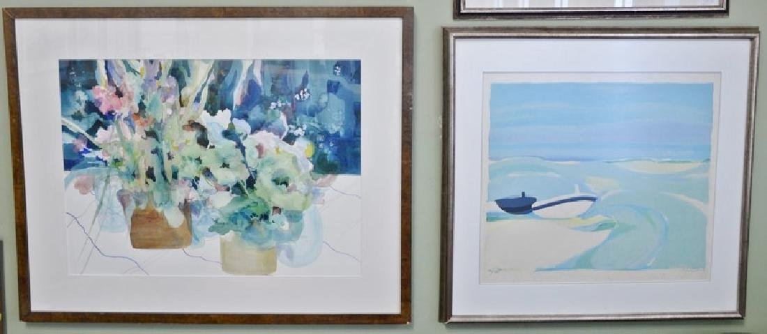 Five framed pieces to include:  Mike Pease, colored