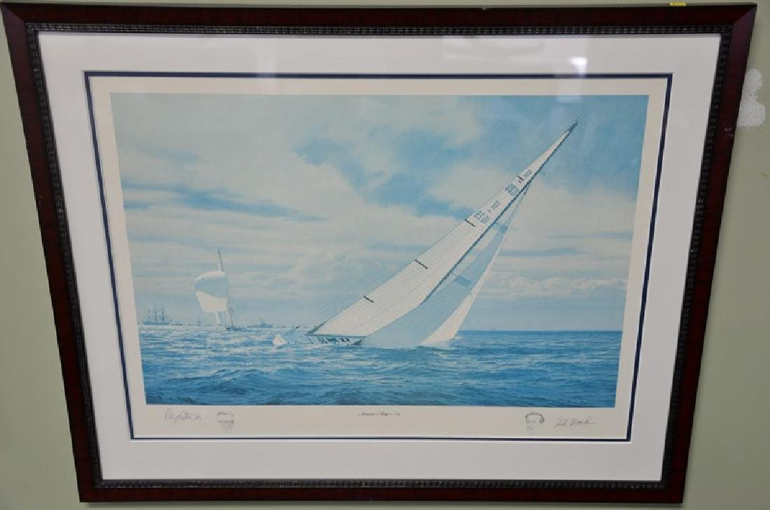 """Four framed pieces to include:  engraving, """"Winter, Two"""