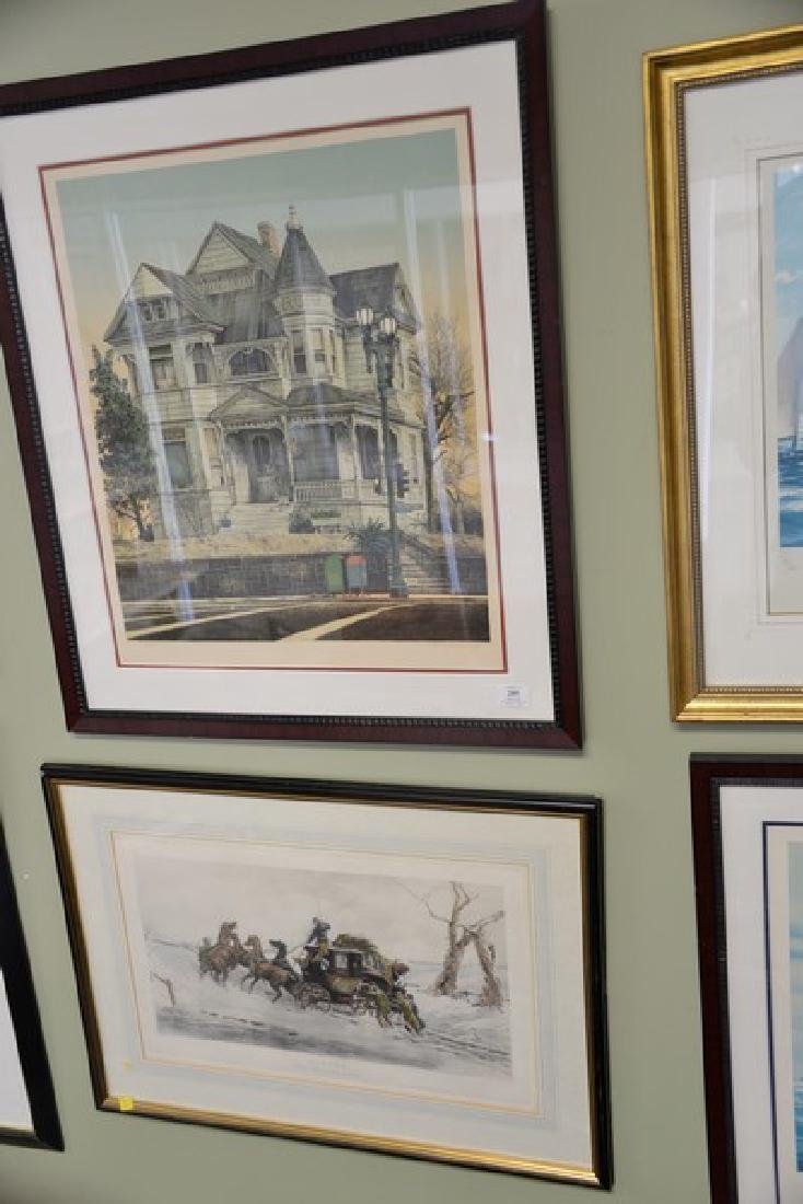 """Four framed pieces to include:  engraving, """"Winter, Two - 2"""