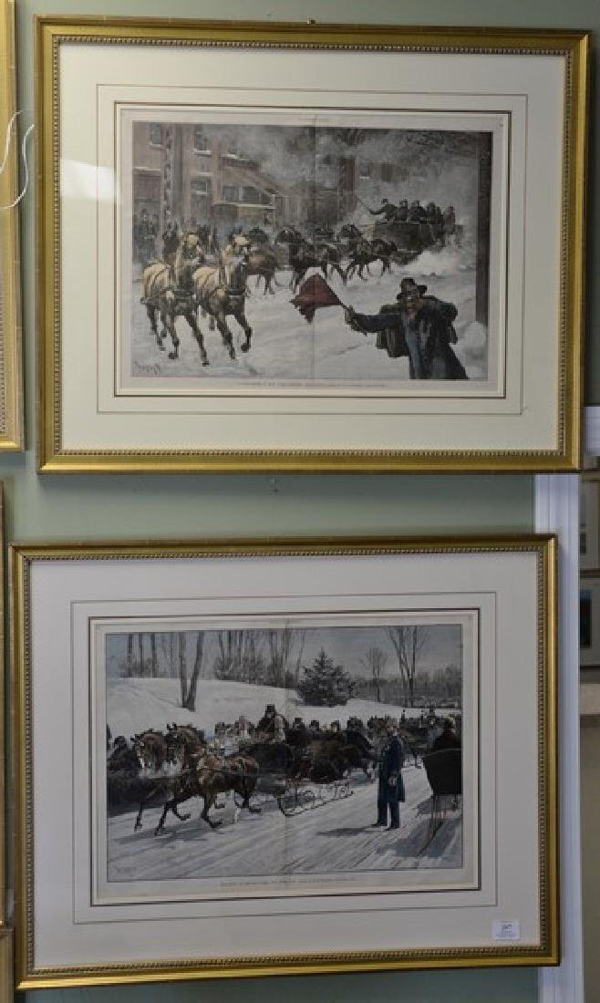 Set of seven Harper's Weekly colored lithographs, all