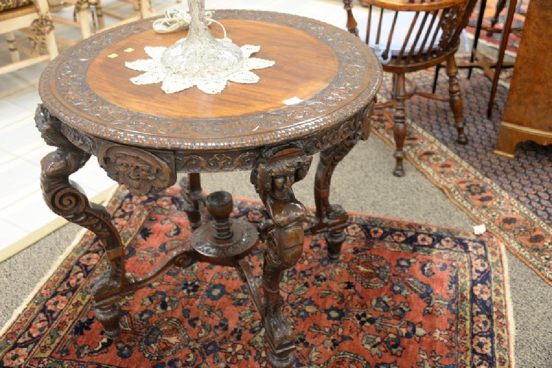 Mahogany round occasional table with carved top and - 3