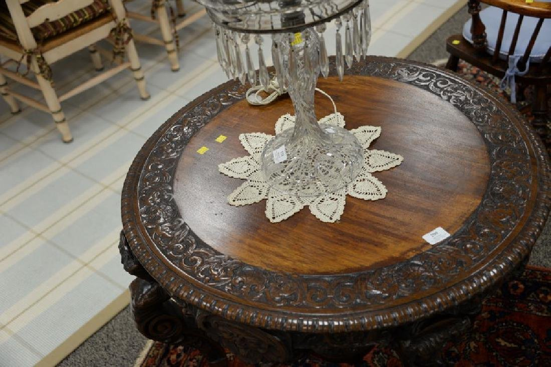 Mahogany round occasional table with carved top and - 4