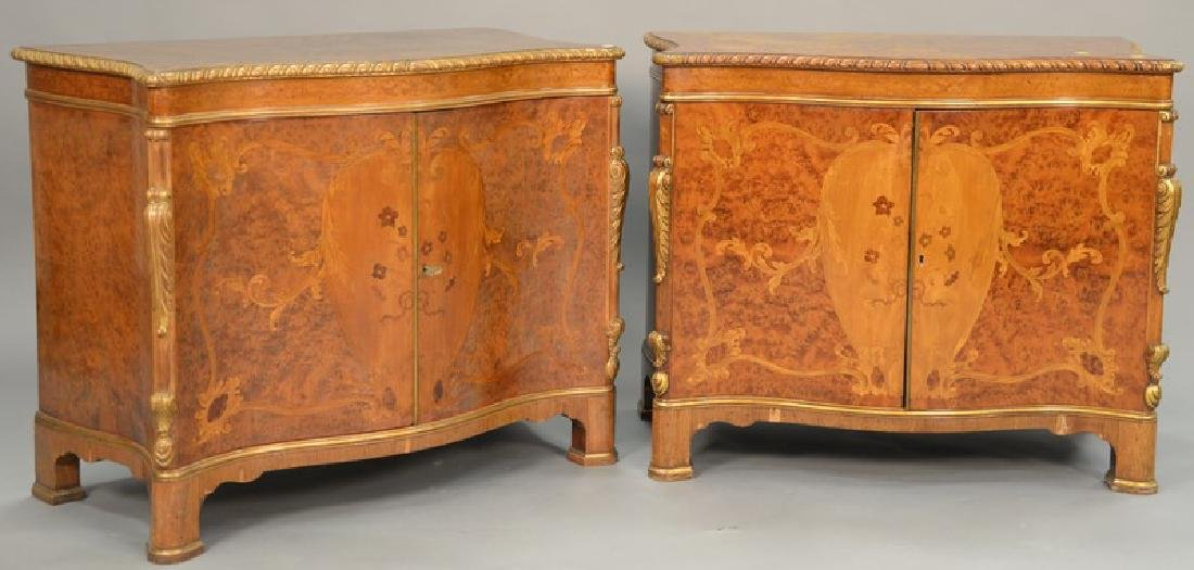 Pair of burlwood two door cabinets. ht. 31in., wd.