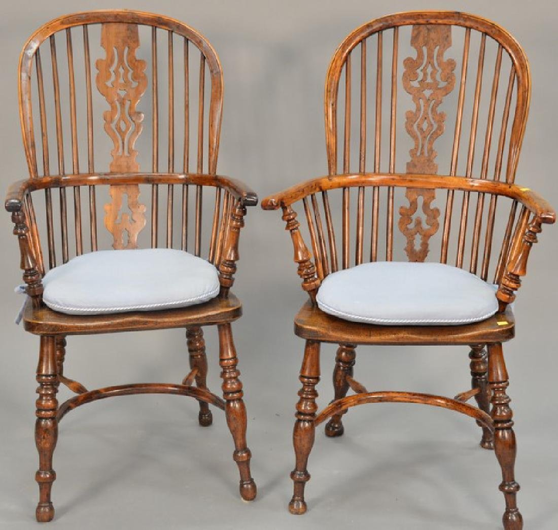Pair of English yew wood Windsor armchairs.