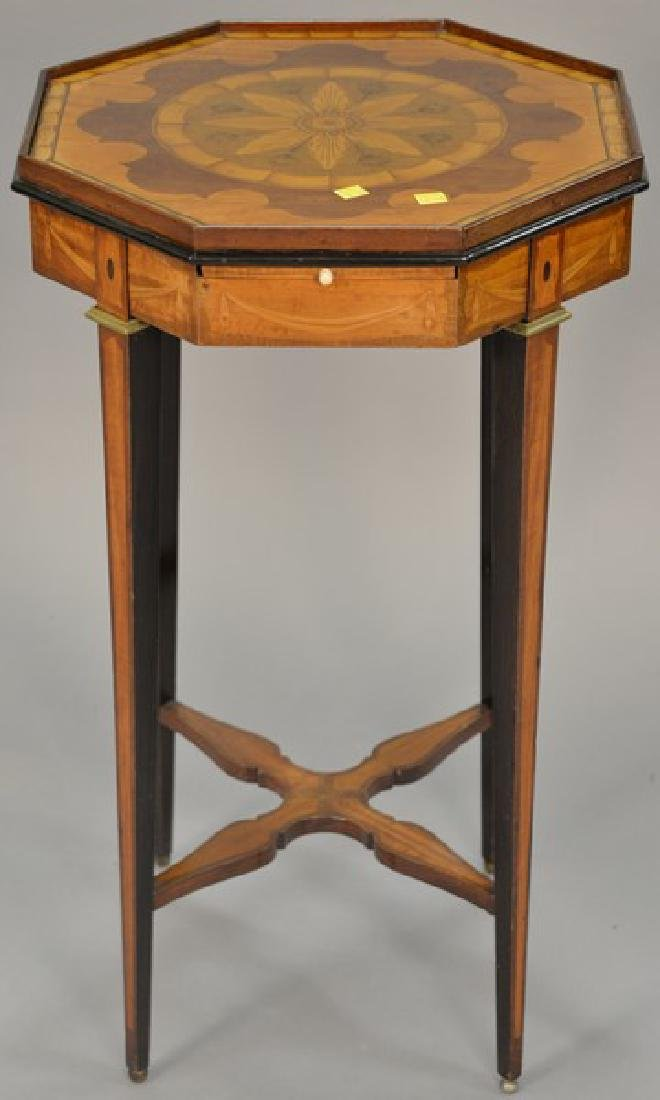 Inlaid octagon top stand having candle slide. ht.