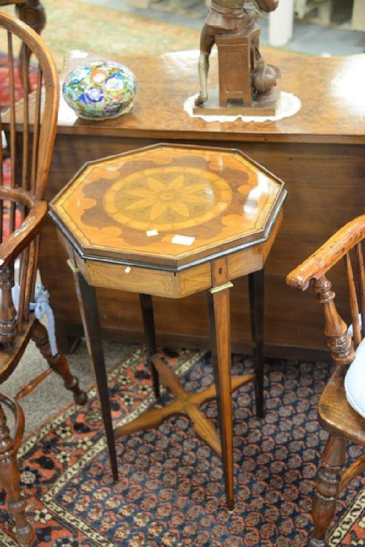 Inlaid octagon top stand having candle slide. ht. - 2