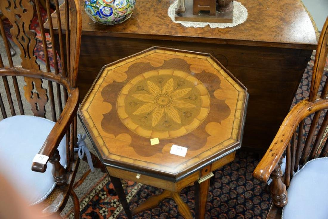 Inlaid octagon top stand having candle slide. ht. - 3