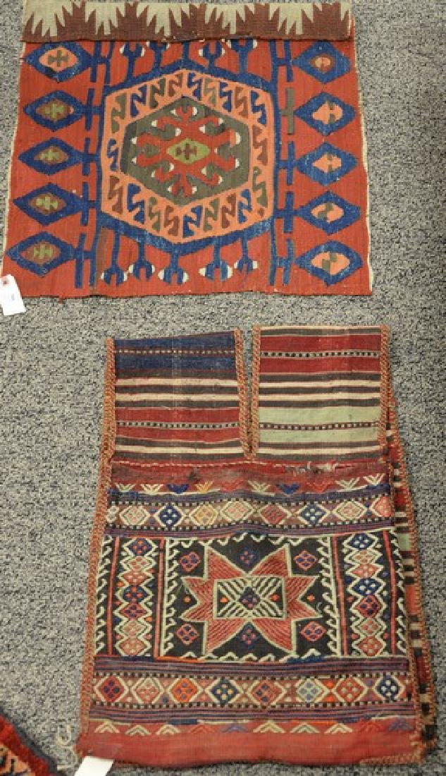 Two piece lot to include a pair of camel saddle bags