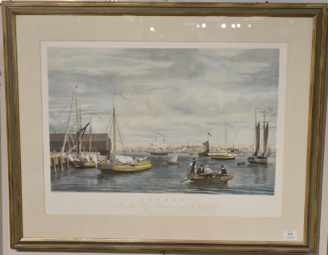 Hand colored aquatint engraving, Boston, From the Ship