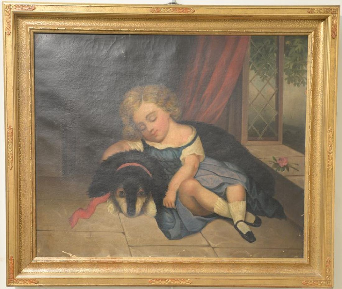 19th century oil on canvas primitive portrait of a
