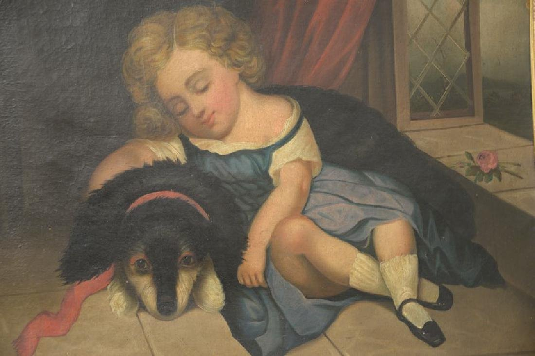 19th century oil on canvas primitive portrait of a - 2