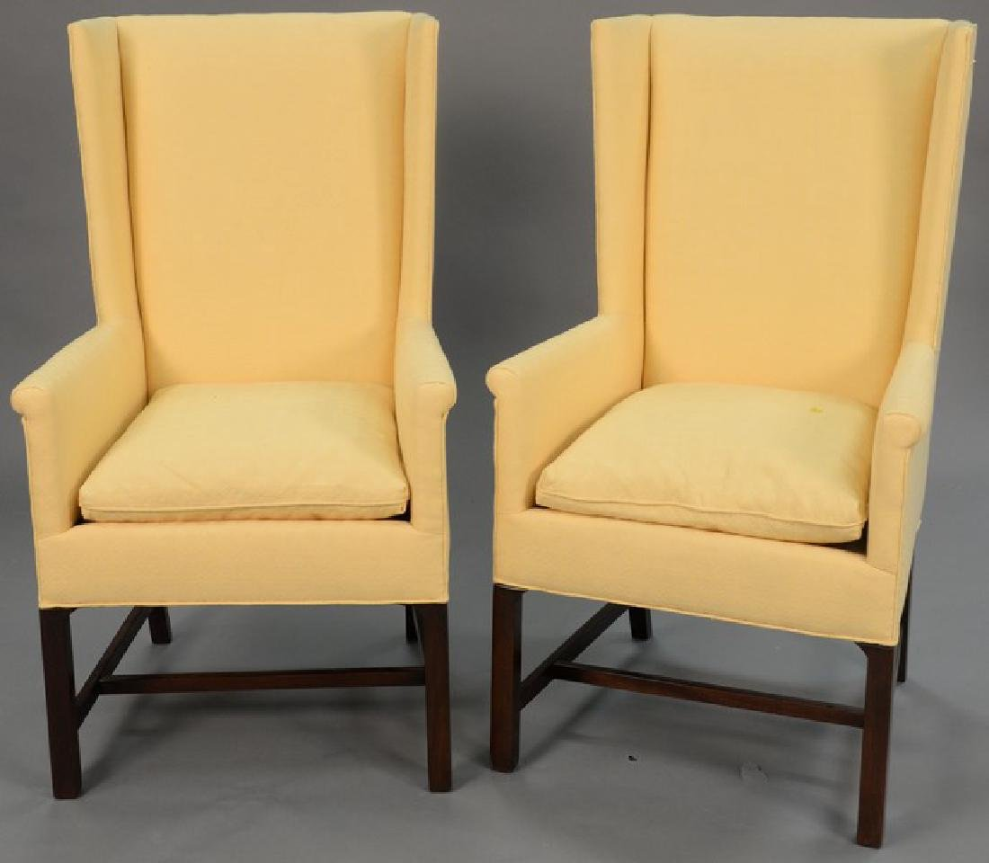 Pair of Hickory Chair Co. wing chairs. ht. 44 1/2in.,