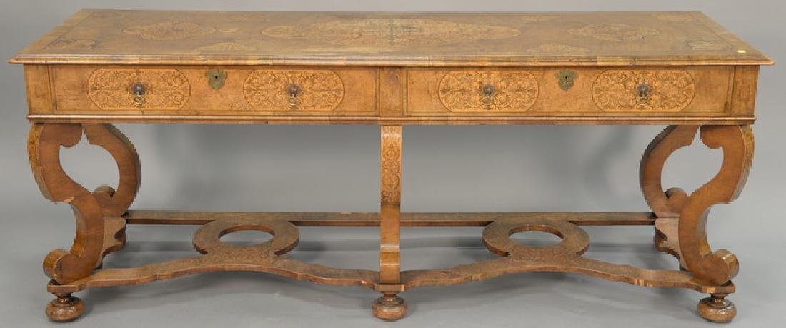 Custom inlaid walnut server/hall table with inlaid top