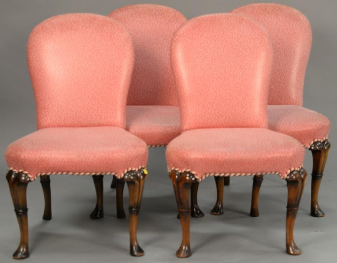Set of four custom upholstered Queen Anne style side