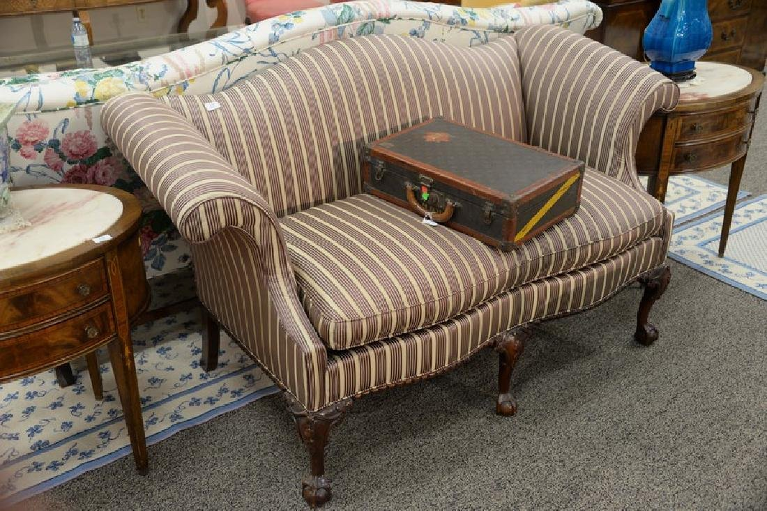 Chippendale style loveseat, upholstery torn top left - 2