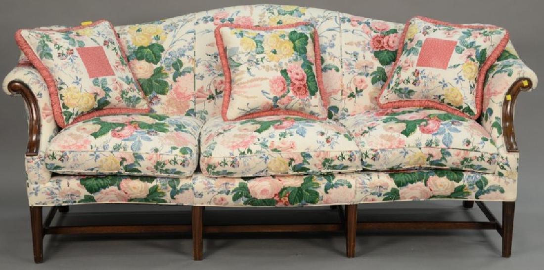 Custom Federal style mahogany camelback sofa with down