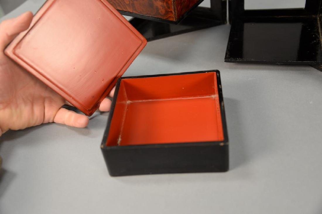 Four piece Japanese lacquered group including a folding - 5