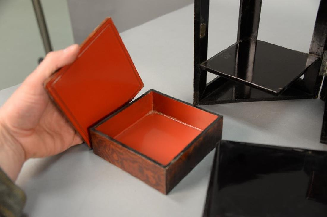 Four piece Japanese lacquered group including a folding - 6