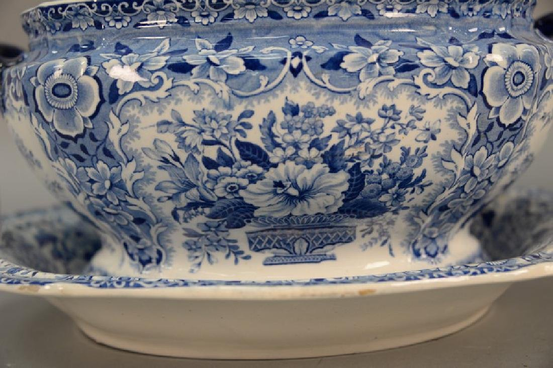 Blue and white Tureen & underplate, marked Nanking Semi - 2