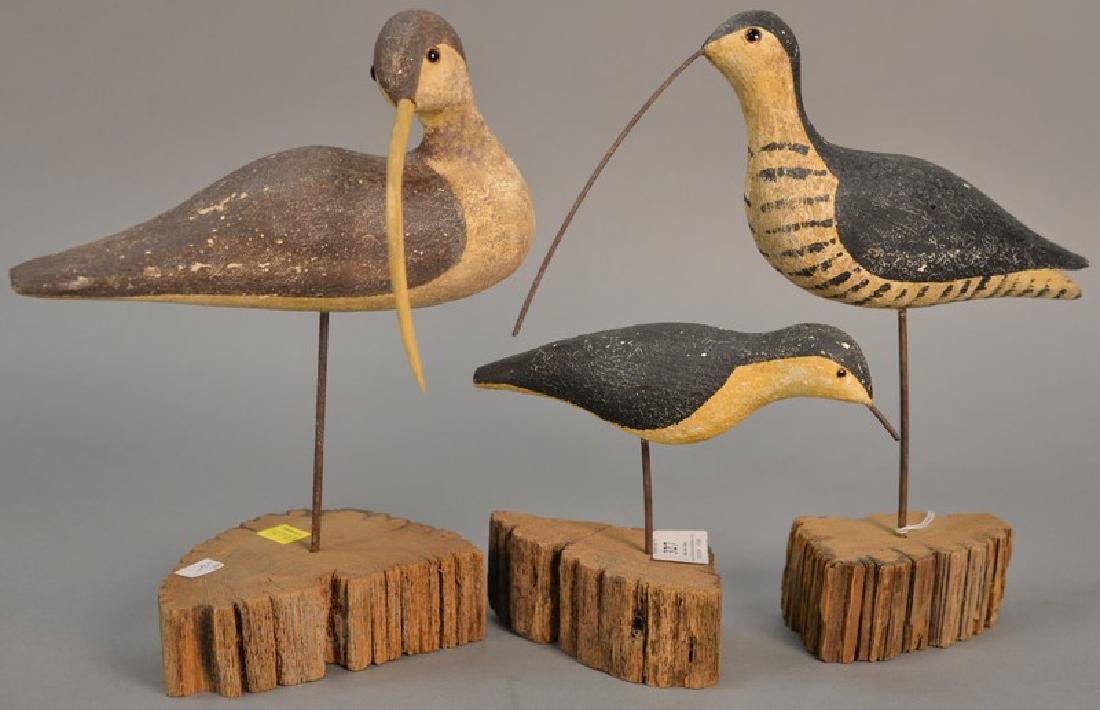 Three Richard Morgan carved shore bird decoys with