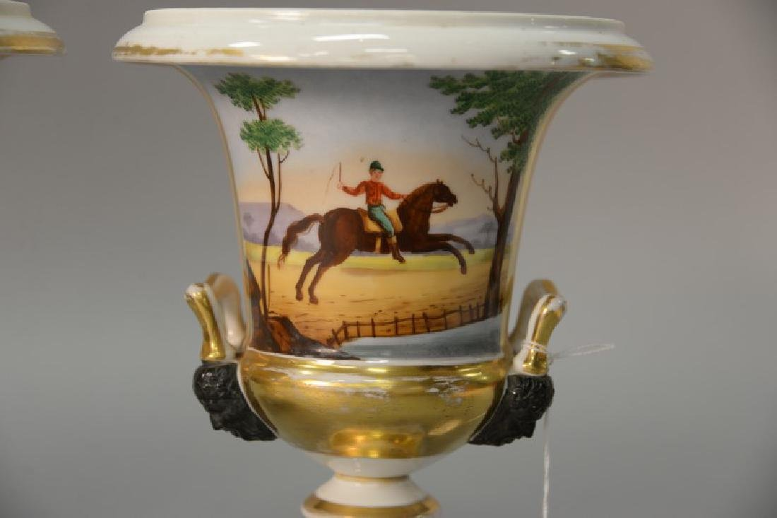 Pair of French porcelain urns with equestrian scene and - 2