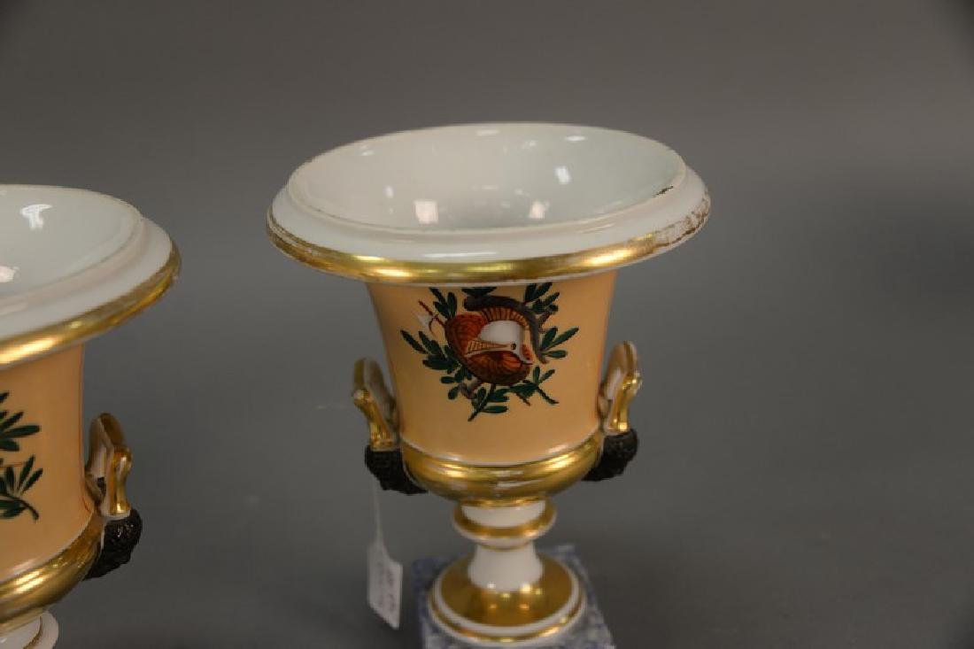 Pair of French porcelain urns with equestrian scene and - 5