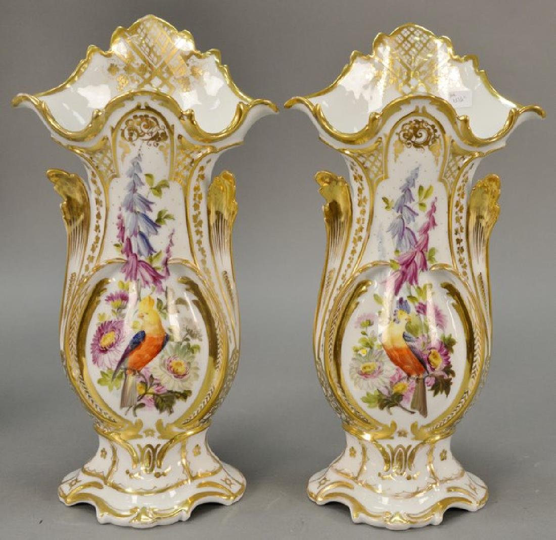 Pair of French porcelain gilt and paint decorated