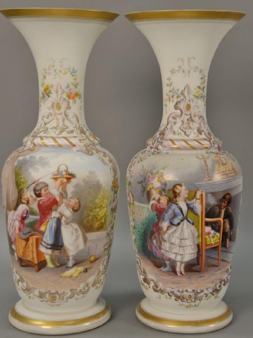 Pair of Bristol hand painted vases. ht. 20 1/2in.