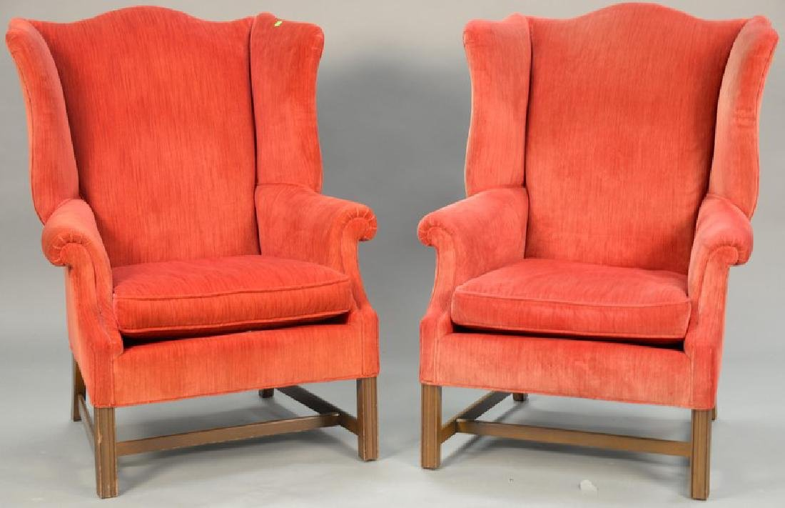 Pair of mahogany Chippendale style upholstered wing