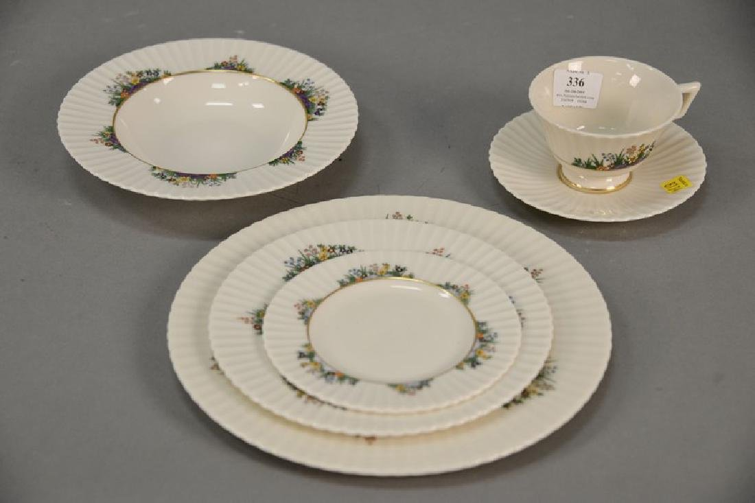 Set of Lenox dinnerware including 12 dinner plates, 8